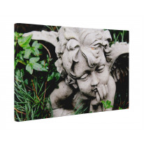 Angel Statue in Grass Box Canvas Print Wall Art - Choice of Sizes