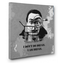 Salvador Dali Drugs Quote Box Canvas Print Wall Art - Choice of Sizes