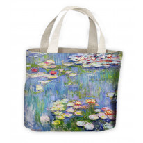 Water Lillies Claude Monet Painting Tote Shopping Bag For Life