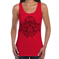 Skull and Roses Tattoo Large Print Women's Vest Tank Top