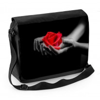 Red Rose in Hands Laptop Messenger Bag