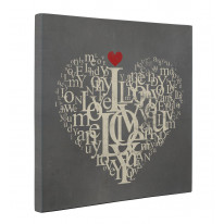 Love Heart Typography Box Canvas Print Wall Art - Choice of Sizes