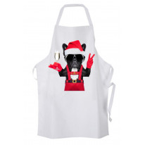 French Bulldog Santa Claus Style Father Christmas Chef's Kitchen Apron