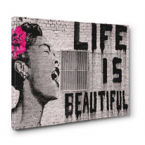 Banksy Life is Beautiful Box Canvas Print Wall Art - Choice of Sizes