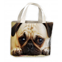 Pug Dog Face Tote Shopping Bag For Life
