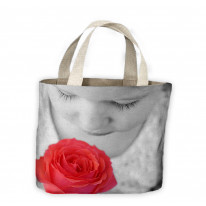 Child Smelling a Rose Tote Shopping Bag For Life