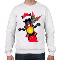 French Bulldog and Jack Russell Terrier Santa Claus Style Father Christmas Men's Sweater \ Jumper