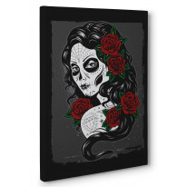 Day of The Dead Tattoo Girl Box Canvas Print Wall Art - Choice of Sizes