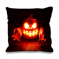Halloween Pumpkin Flame Faux Silk 45cm x 45cm Sofa Cushion