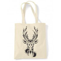 Tribal Stags Head Large Print Tote Shoulder Shopping Bag