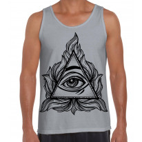 All Seeing Eye In A Triangle Illuminati Large Print Men's Vest Tank Top