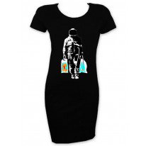 Banksy Spaceman With Shopping T Shirt Dress