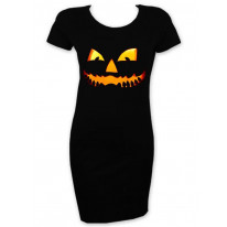 Halloween Pumpkin Face Short Sleeve T-Shirt Dress
