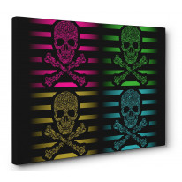 Floral Skull and Crossbones Box Canvas Print Wall Art - Choice of Sizes