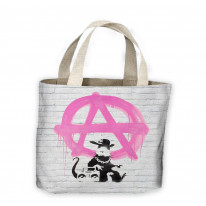 Banksy Anarchy Rat Tote Shopping Bag For Life