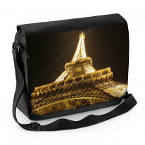 Seine River Eiffel Tower Black and White Laptop Messenger Bag