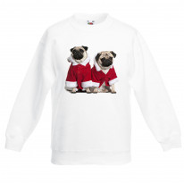 Pug Dog Santa Claus Christmas Kids Jumper \ Sweater