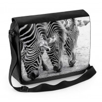 Three Zebras Black and White Laptop Messenger Bag