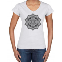 Mandala Tattoo Design Women's V Neck T Shirt