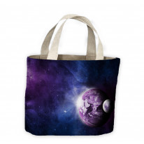 Earth and Moon in Space Tote Shopping Bag For Life