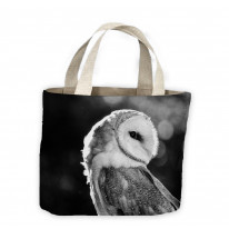 Barn Owl Black and White Tote Shopping Bag For Life