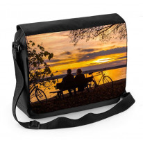 Couple Sat by Lake with Autumn Sunset Laptop Messenger Bag