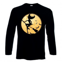Witch On Broomstick Long Sleeve T-Shirt