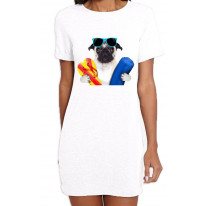 Pug Dog On Holiday Funny Women's T-Shirt Dress
