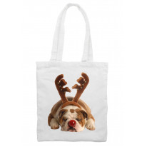 Bulldog Rudolph Reindeer Cute Christmas Shoulder Shopping Bag