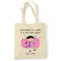 Chocolate and a Smile and a New Hairstyle 21st Birthday Tote Shoulder Shopping Bag