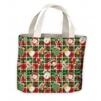 Christmas Tartan Santa Claus and Snowman Tote Shopping Bag For Life