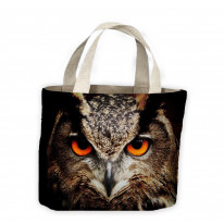 Eagle Owl Face Dark Background Tote Shopping Bag For Life