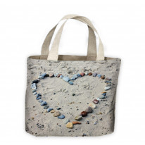 Love Heart Pebbles On Beach Tote Shopping Bag For Life