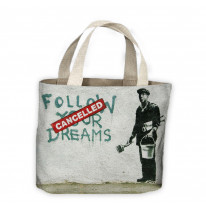 Banksy Follow Your Dreams Cancelled Tote Shopping Bag For Life