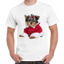 Yorkshire Terrier Puppy Santa Claus Father Christmas Men's T-Shirt
