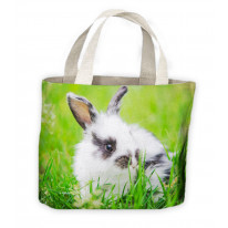 Baby Black and White Rabbit Tote Shopping Bag For Life