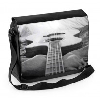 Acoustic Guitar Black and White Laptop Messenger Bag