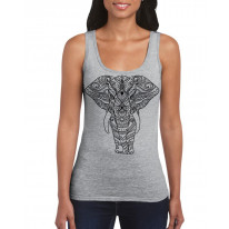Tribal Indian Elephant Tattoo Large Print Women's Vest Tank Top