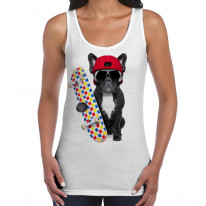 French Bulldog Skateboarder Women's Tank Vest Top