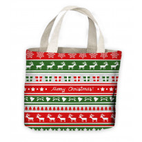 Christmas Reindeer Pattern Tote Shopping Bag For Life