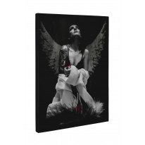 Fallen Angel with Tattoos and Wine Box Canvas Print Wall Art - Choice of Sizes