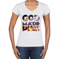 God Made Me Phunky Disco Large Print V Neck Women's T-Shirt