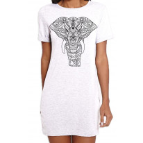 Tribal Indian Elephant Tattoo Large Print Women's T-Shirt Dress
