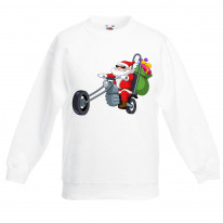 Santa Claus Biker Funny Christmas Kids Jumper \ Sweater