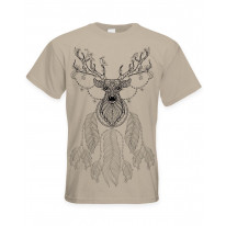 Dreamcatcher With Stags Head Hipster Large Print Men's T-Shirt