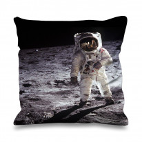 Moon Landing Apollo 11 Buzz Aldrin Faux Silk 45cm x 45cm Sofa Cushion