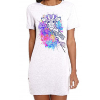 Giraffe Colour Splash Large Print Women's Short Sleeve T-Shirt Dress