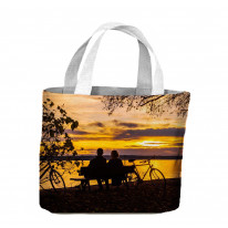 Couple Sat by Lake with Autumn Sunset Tote Shopping Bag For Life