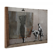 Banksy Shower Kids Peeping Toms Box Canvas Print Wall Art - Choice of Sizes