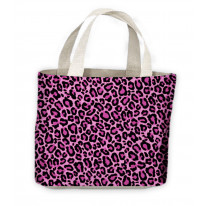 Pink Leopard Skin Pattern Tote Shopping Bag For Life